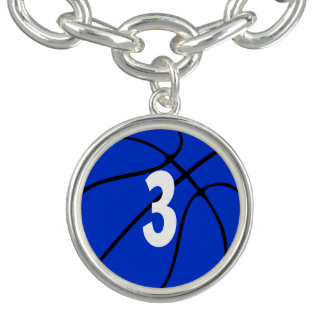 Blue Basketball Player Jersey Number or Initial