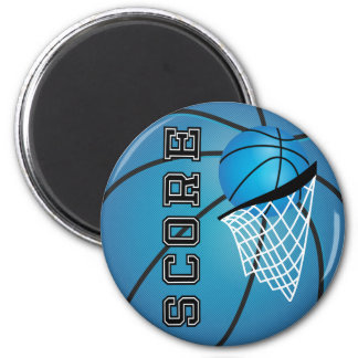 Blue Basketball Score 6 Cm Round Magnet