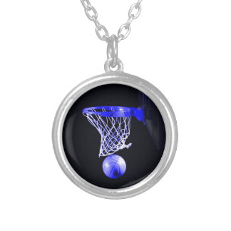 Blue Basketball Silver Plated Necklace