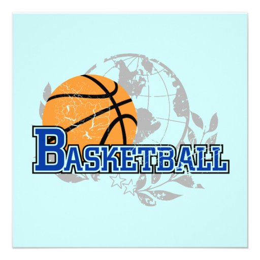 Blue Basketball T-shirts and Gifts Invitations