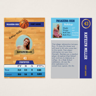 Blue Basketball Trading Sports Card w/ Autograph