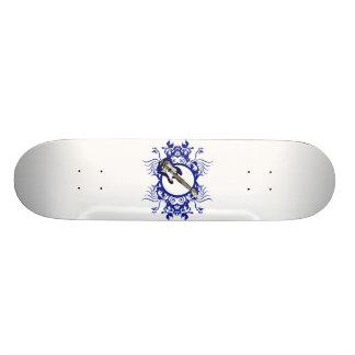 Blue Bass Blue Floral Circle Design 19.7 Cm Skateboard Deck