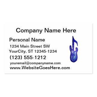 blue bass guitar music note crayon pack of standard business cards
