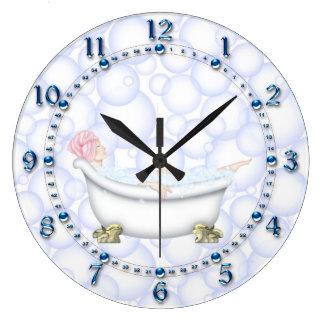 Blue Bathroom Bubbles Clocks