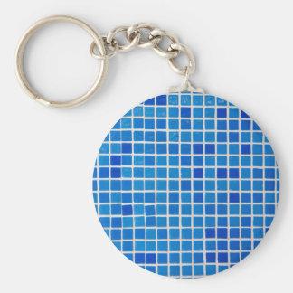 blue bathroom tile basic round button key ring