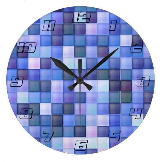 Blue Bathroom Tile Squares pattern Large Clock