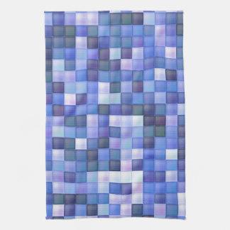Blue Bathroom Tile Squares pattern Tea Towel