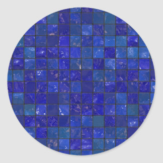 Blue Bathroom Tiles Classic Round Sticker