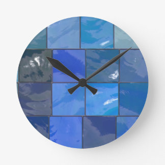 Blue Bathroom Tiles Design Round Clock