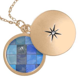 Blue Bathroom Tiles Design Round Locket Necklace