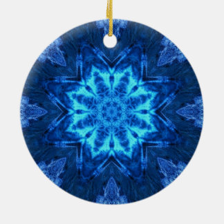 Blue Batik Double-Sided Ceramic Round Christmas Ornament