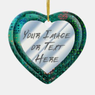 Blue Batik Heart Frame Ceramic Heart Decoration