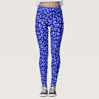 Blue Batik Leopard - leggings