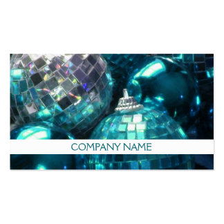 Blue Baubles business card front text white