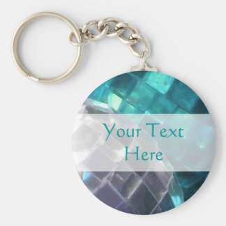 Blue Baubles mirror ball 'Your Text' keychain