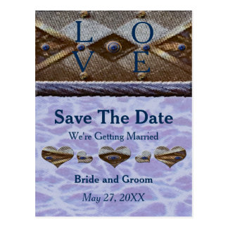 Blue Bayview Love Save the Date Postcard