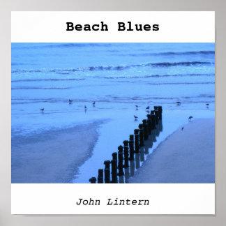 blue beach, Beach Blues, John Lintern Poster
