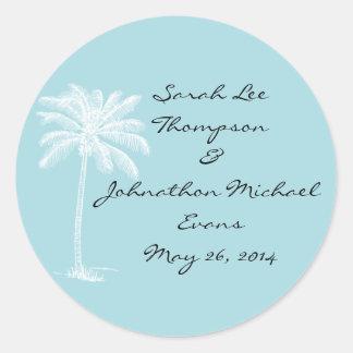Blue Beach Getaway Wedding Seals/Stckers Classic Round Sticker