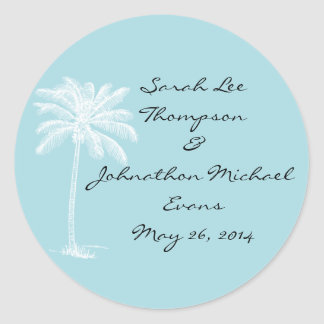 Blue Beach Getaway Wedding Seals/Stckers Round Sticker