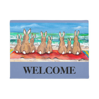 Blue Beach House Rabbit Welcome Mat Personalized
