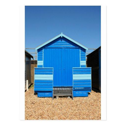 blue beach hut postcard