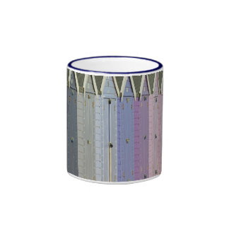 Blue beach huts mug