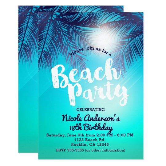 Blue BEACH PARTY Sunny Palm Trees Summer Birthday