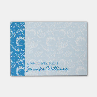 Blue Beach Pattern | Add Your Name Post-it® Notes
