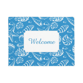Blue Beach Pattern | Add Your Text Doormat