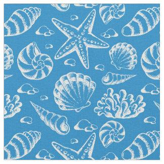 Blue Beach Pattern   Monogram 2 Fabric