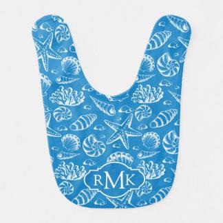 Blue Beach Pattern | Monogram Bib