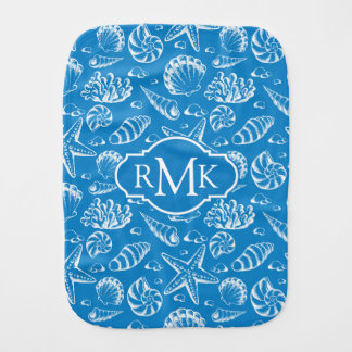 Blue Beach Pattern | Monogram Burp Cloth