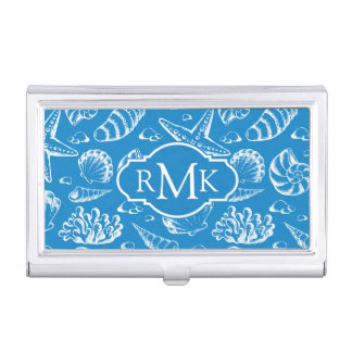 Blue Beach Pattern | Monogram Business Card Holder