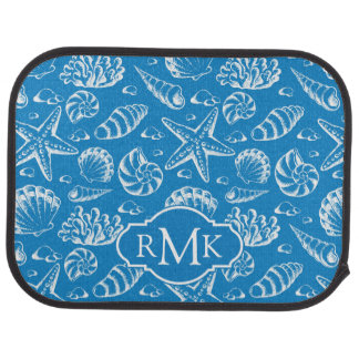 Blue Beach Pattern | Monogram Car Mat