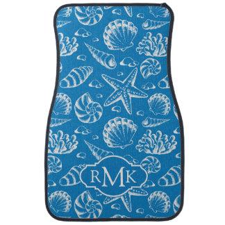 Blue Beach Pattern | Monogram Car Mat