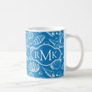 Blue Beach Pattern | Monogram Coffee Mug