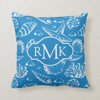 Blue Beach Pattern | Monogram Cushion