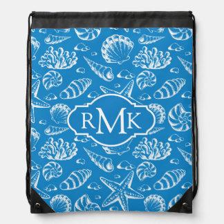 Blue Beach Pattern   Monogram Drawstring Bag