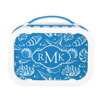 Blue Beach Pattern | Monogram Lunch Box