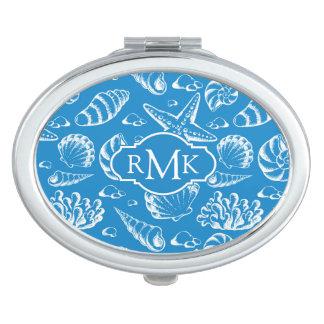 Blue Beach Pattern | Monogram Mirror For Makeup