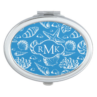 Blue Beach Pattern | Monogram Vanity Mirror