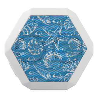 Blue Beach Pattern White Bluetooth Speaker