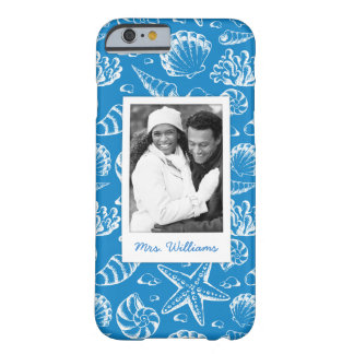 Blue Beach Pattern | Your Photo & Name Barely There iPhone 6 Case