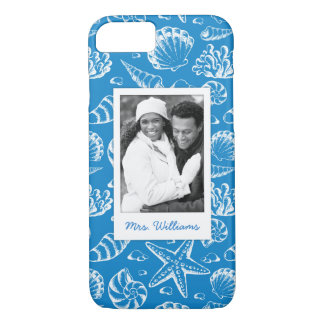 Blue Beach Pattern | Your Photo & Name iPhone 8/7 Case