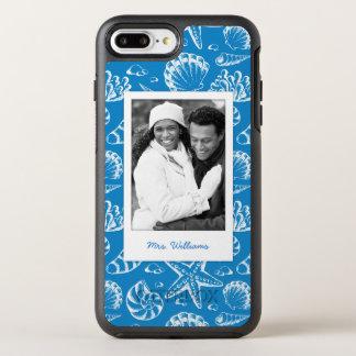 Blue Beach Pattern | Your Photo & Name OtterBox Symmetry iPhone 8 Plus/7 Plus Case