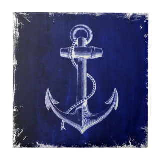 blue beach rustic shabby chic nautical anchor small square tile