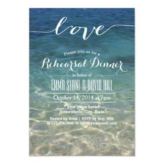 Blue Beach Sea Water Script Love Rehearsal Dinner 13 Cm X 18 Cm Invitation Card