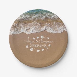 Blue Beach Sea waves and Ocean Treasures Wedding Paper Plate