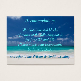 Blue Beach Wedding Accommodations Business Cards