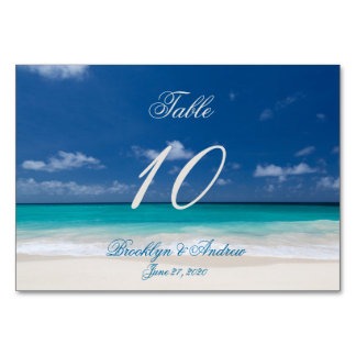 Blue Beach Wedding Place Cards Table Cards